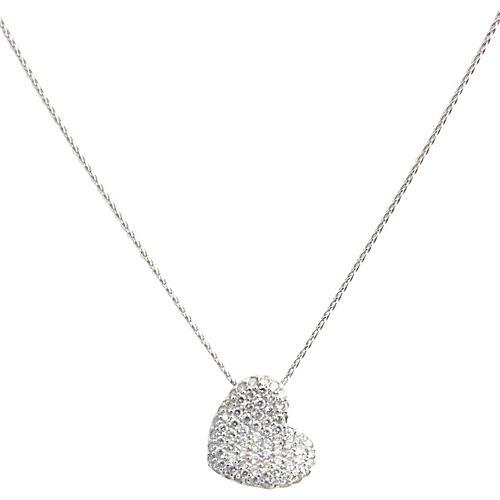 Pavé Diamond & Gold Heart Necklace
