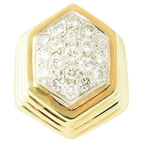 14K Gold & Pavé Diamond Geometric Ring