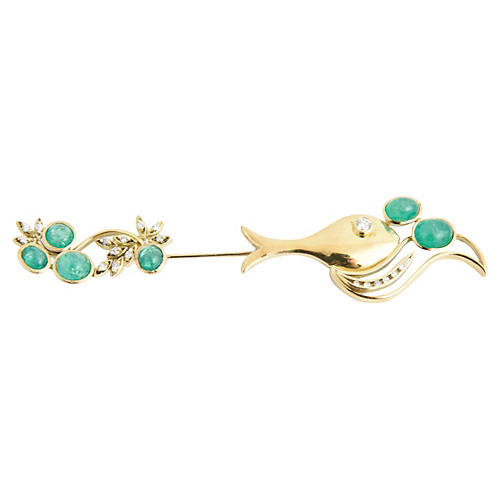 Emerald, Gold & Diamond Fish Jabot Pin