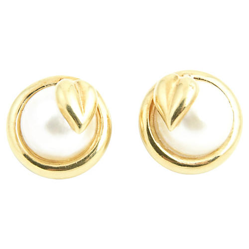 Mabe Blister Pearls & Gold Leaf Earrings