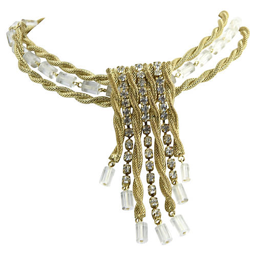 Scaasi Red Carpet Gold & Lucite Necklace