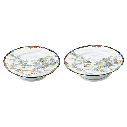 Hand-Painted Japanese Compotes, Pair