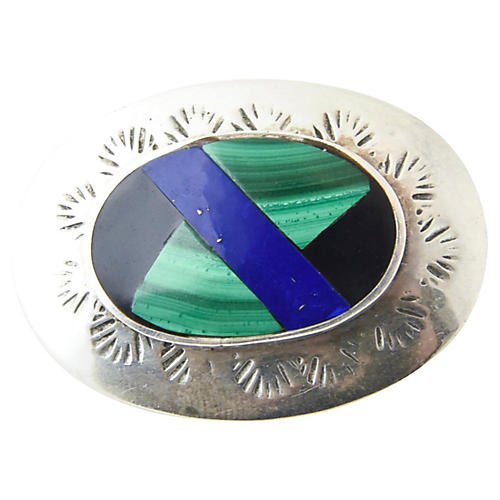 Lapis, Malachite, Onyx & Sterling Brooch