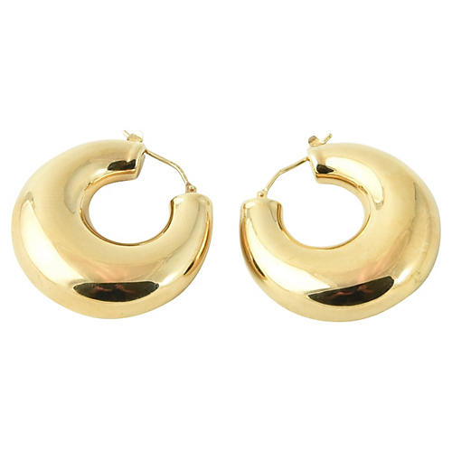 Large Shiny Chubby Gold Hoop Earrings