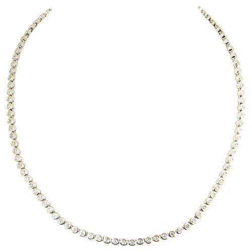 14K White Gold & Diamond Tennis Necklace