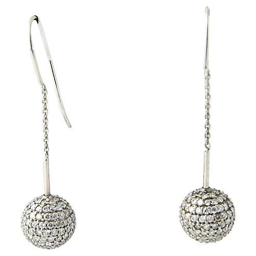 Pavé Diamond Gold Ball Earrings