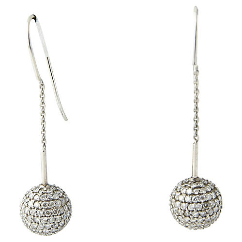 Pavé Diamond Gold Ball Earrings