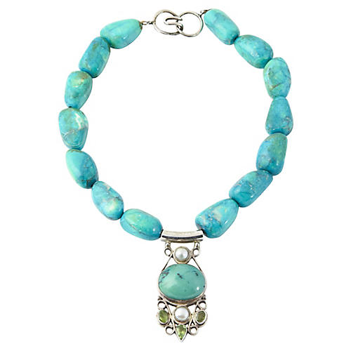 Pearl, Peridot & Faux-Turquoise Necklace