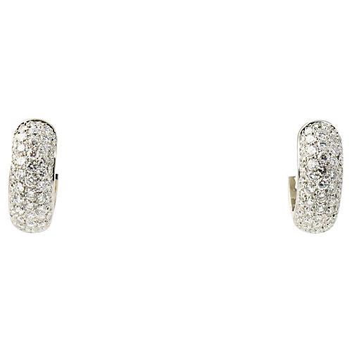 Pavé Diamond Huggie Hoop Earrings