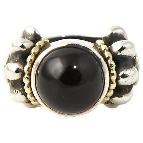 Lagos Caviar Onyx, Sterling & Gold Ring