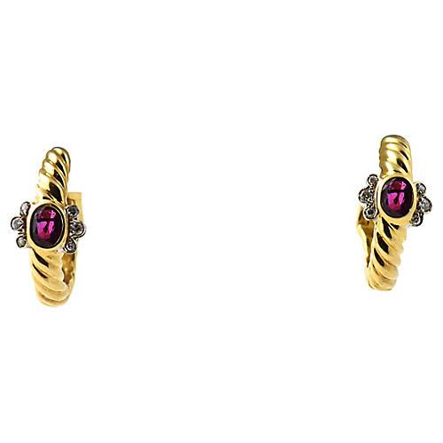 Gold Ruby & Diamond Hoop Earrings