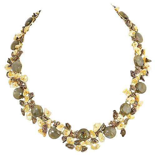 Handmade Pearl, Gemstone & Gold Necklace