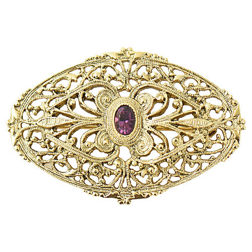 Victorian Revival Brooch Filigree Brooch