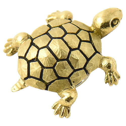 18K Gold Turtle Hat or Hair Pin Brooch