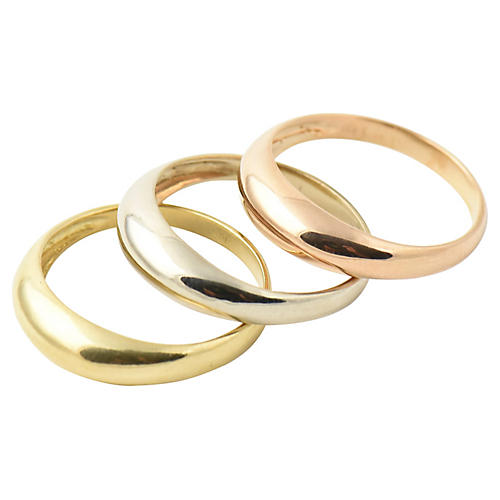 Tri-Color 18K Gold Stacking Rings