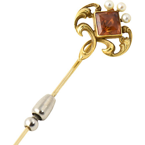 Art Nouveau Jeweled Gold Stickpin