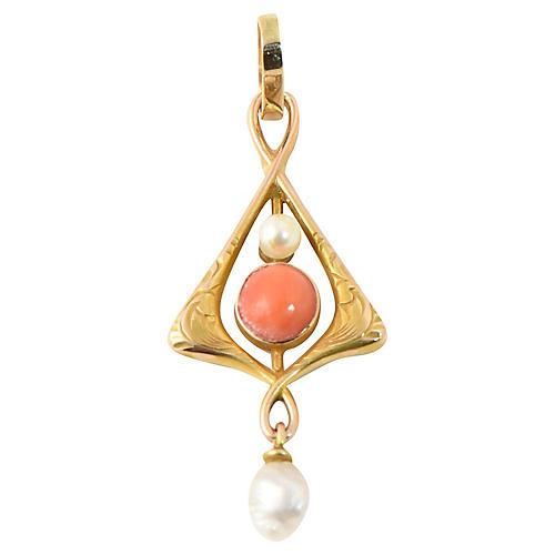 Art Nouveau Coral & Pearl Gold Pendant