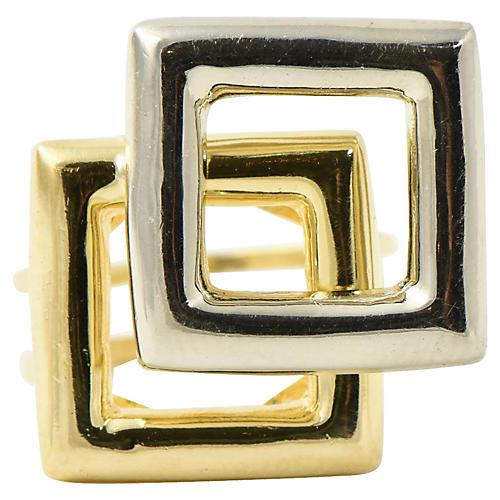 1960's Geometric Square Gold Ring