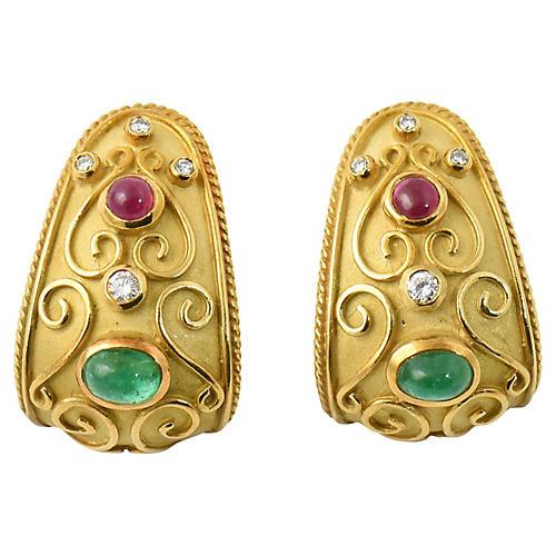 Byzantine-Style Gold & Gemstone Earrings