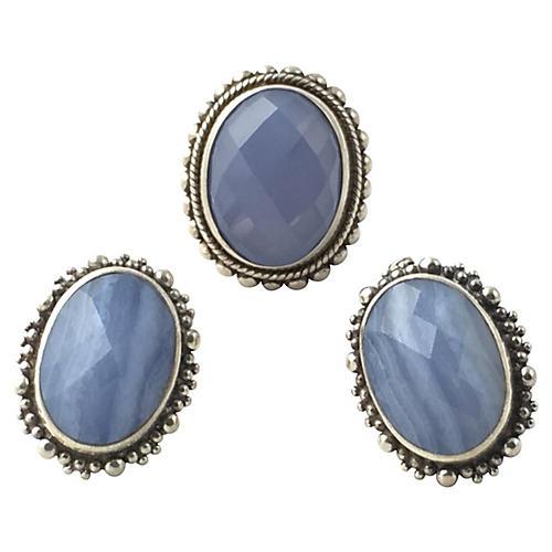 Dweck Blue Silver Earrings & Ring