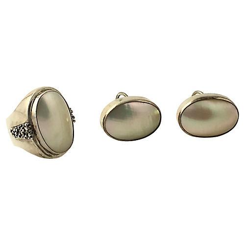 Dawkins Pearl Silver Earrings & Ring Set