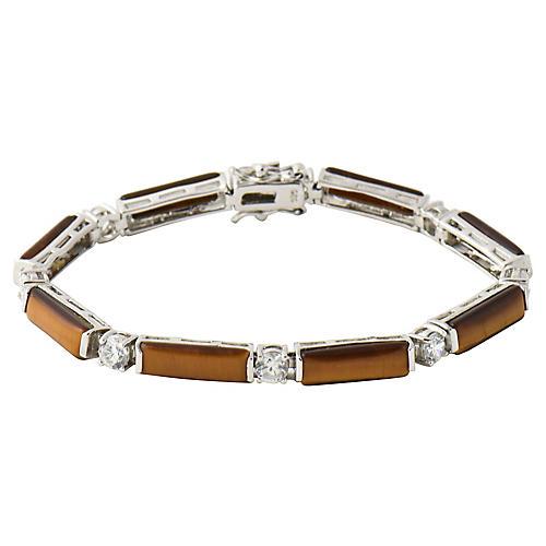 Tiger's Eye & CZ Silver Line Bracelet