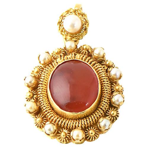 18K Gold & Carnelian Pendant, C. 1960
