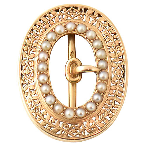 Victorian Pearl & Gold Buckle Pendant