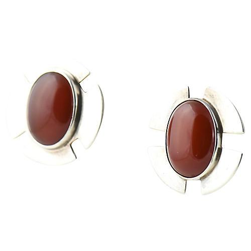 1970s Savitt Silver & Carnelian Earrings
