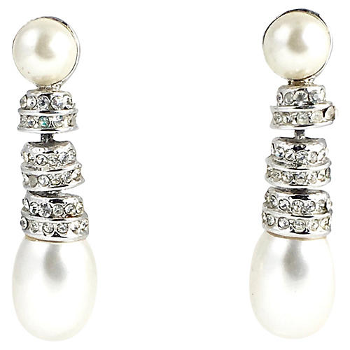 Rhinestone & Pearl Drop Earrings
