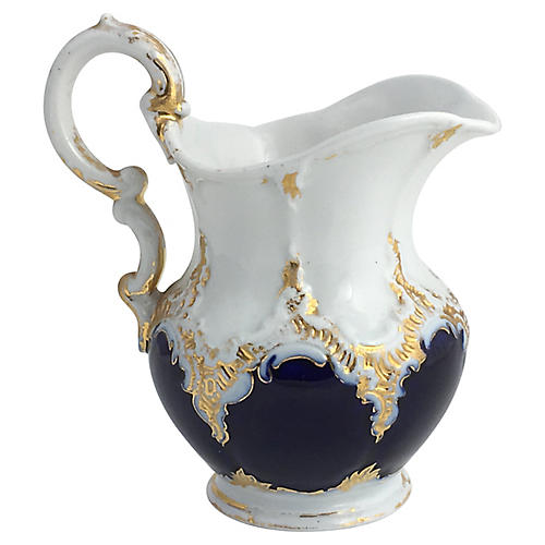 19th-C. Meissen Gilt Colbalt Creamer