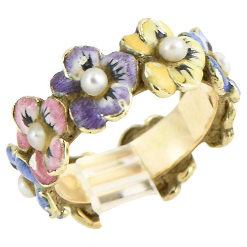 Enamel & Seed Pearl Pansy Gold Band Ring