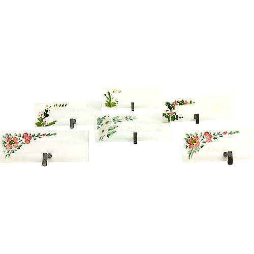 Hand-Painted Glass Place Cards, S/6