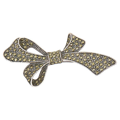 Sterling & Marcasite Bow Brooch