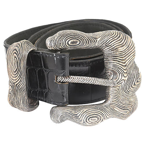Dweck Sterling Belt Buckle & Falchi Belt