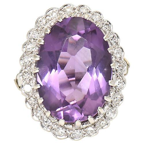Amethyst & Diamond Cocktail Ring