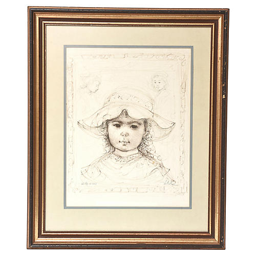 Young Girl in Hat by Edna Hibel