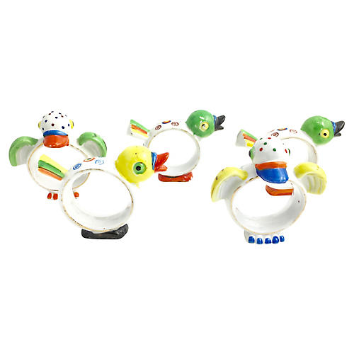 5 Deco Chick & Duck Napkin Ring Holders