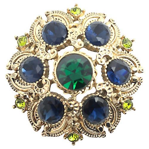 Blue & Green Rhinestone Gold tone Brooch