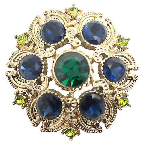 Blue & Green Rhinestone Gold tone Brooch