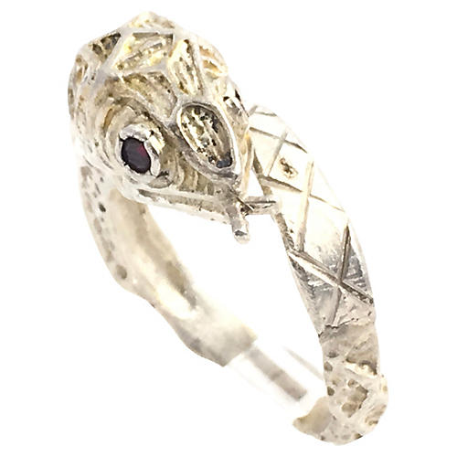 Etched Sterling & Garnet Snake Ring