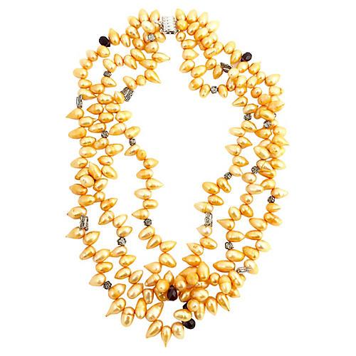 Pearl, Garnet & Butterfly Necklace