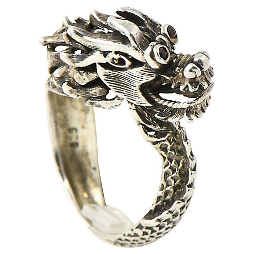 Sterling Mechanical Dragon Head Ring