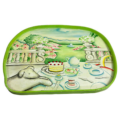 Paper Mache Tea Party Rabbit Tray