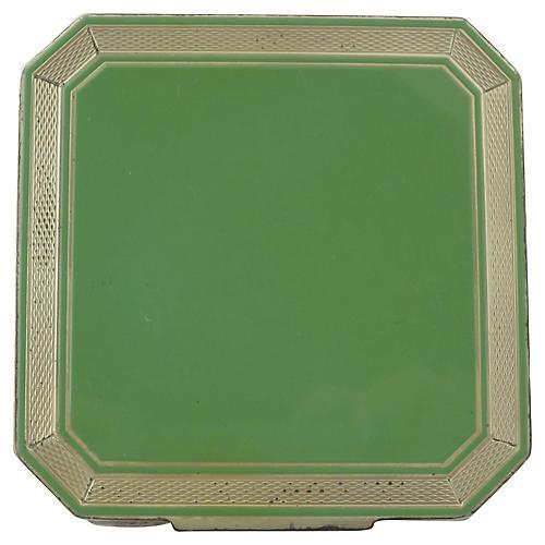Deco Sterling & Green Enamel Compact