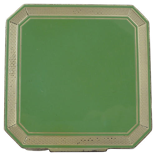Deco Sterling & Green Enamel Compact