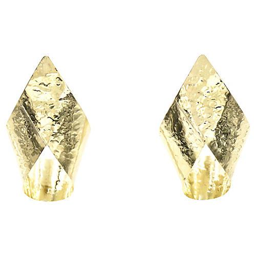 14K Gold Hammered Ribbon Earrings
