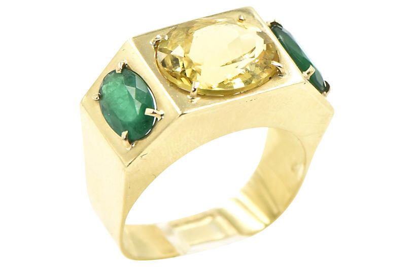 Citrine & Emerald Cocktail Ring