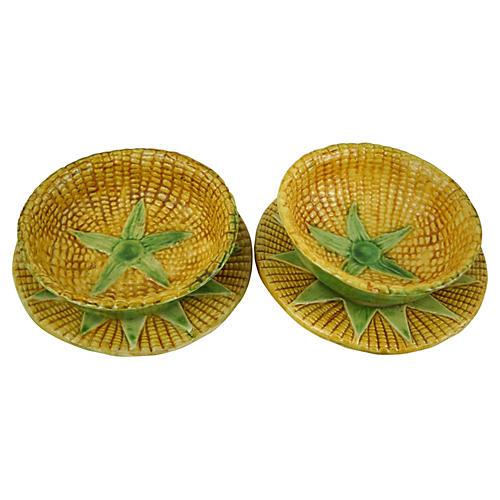 Majolica Corn Bowls & Plates, S/2
