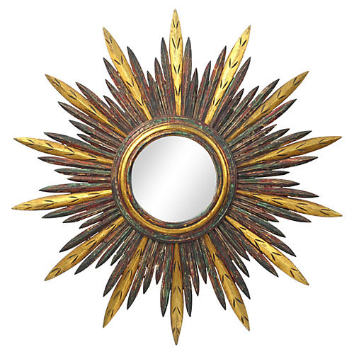 French Carved Wood Starburst Mirror
